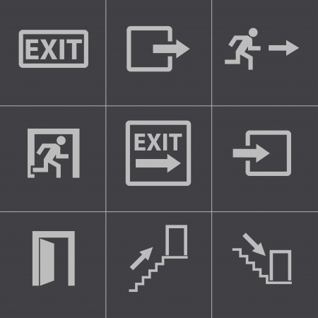 Vector black exit icons set Vector