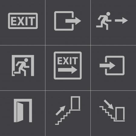 Vector black exit icons set