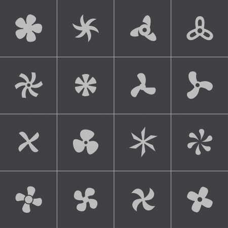Vector black fans and propellers icons set Vector