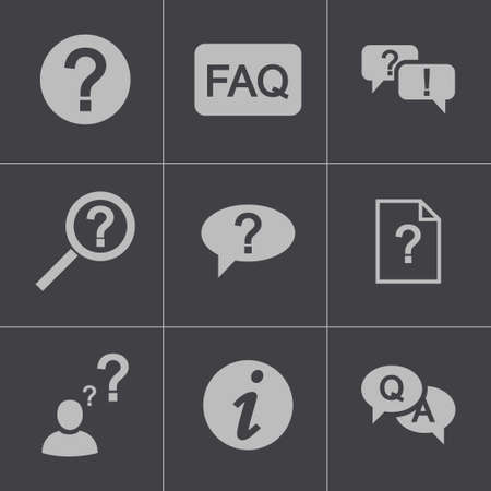 Vector black FAQ icons set Stock Vector - 24739777
