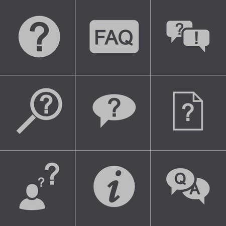 Vector black FAQ icons set Stock Vector - 24739777
