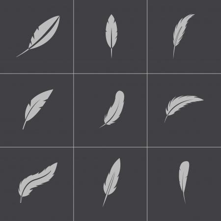 Vector plume noire icônes ensemble Vecteurs