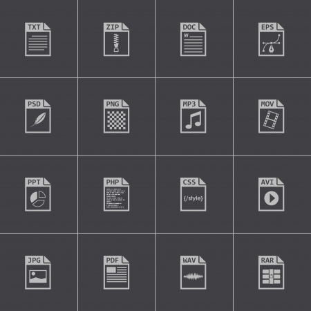 mov: Vector black file type icons set