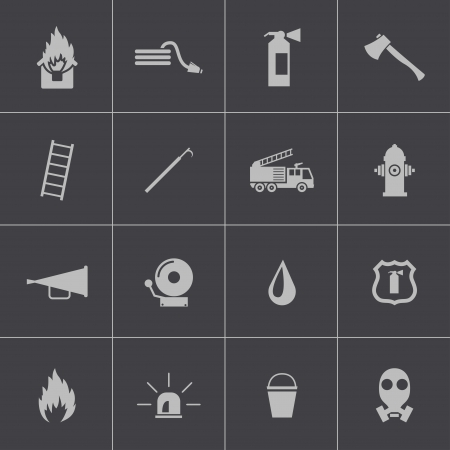 Vector black  firefighter icons set Vector