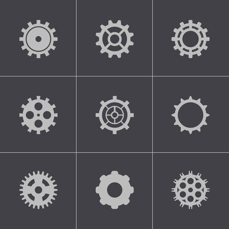 Vector black gear icons set Stock Vector - 24743827