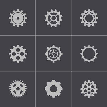 Vector black gear icons set Stock Vector - 24743827