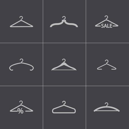 Vector black hanger icons set Vector