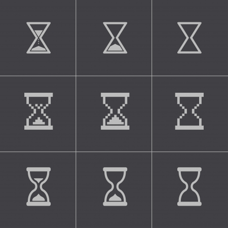 Vector black hourglass icons set Vector