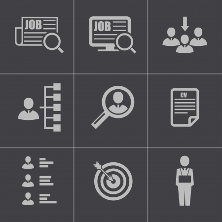 Vector black job search icons set Vector