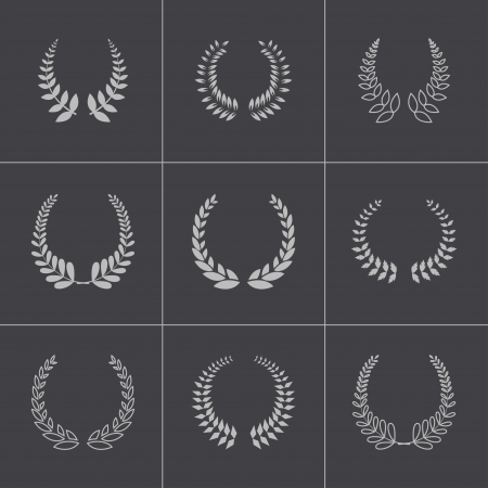 Vector black laurel wreaths icons set Vector