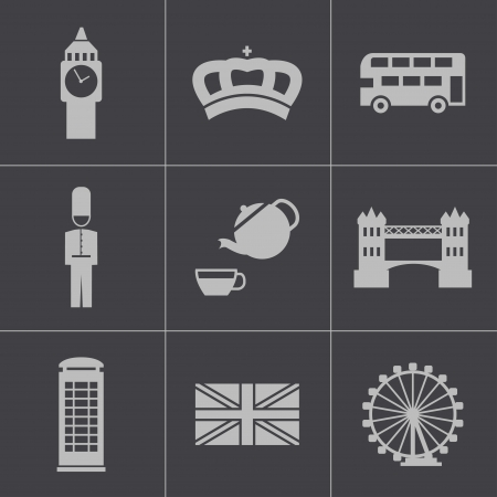 Vector black london icons set Vector