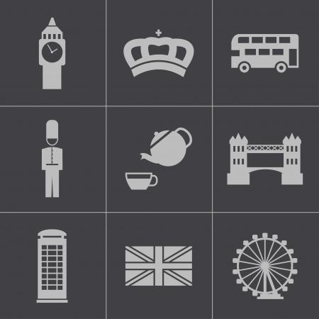 british culture: Vector black london icons set