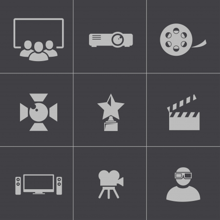 tv screen: Vector black movie icons set Illustration