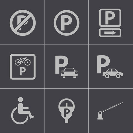 Vector black parking icons set Vector