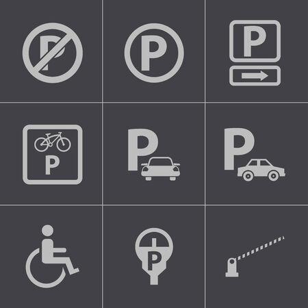 car parking: Vector black parking icons set Illustration