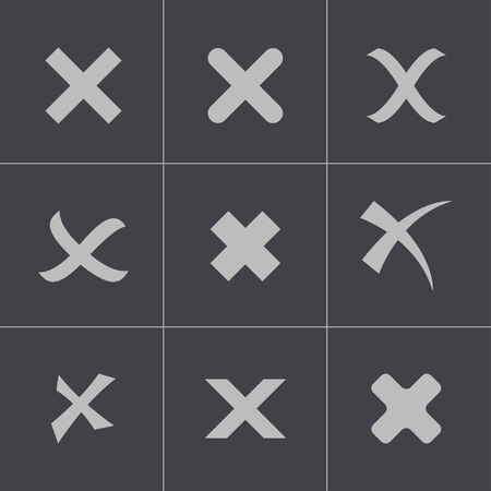 cancel icon: Vector black rejected icons set