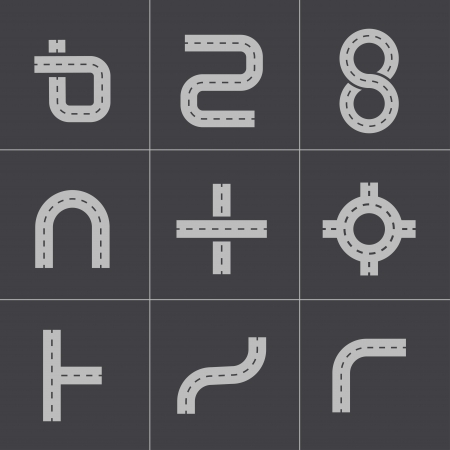 map toolkit: Vector black road elements icons set