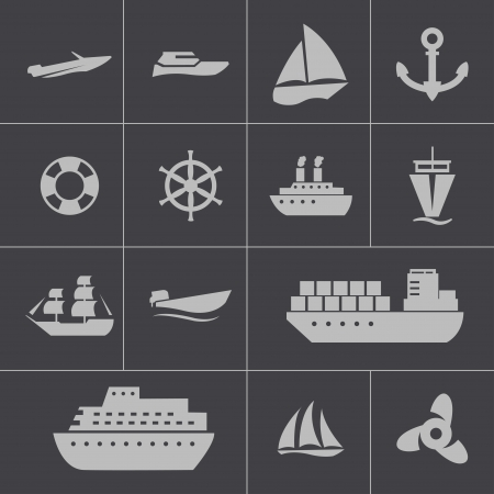 inflate boat: Vector black ship and boat  icons set Illustration