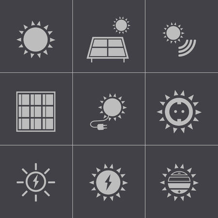 Vector black solar energy icons set Vector