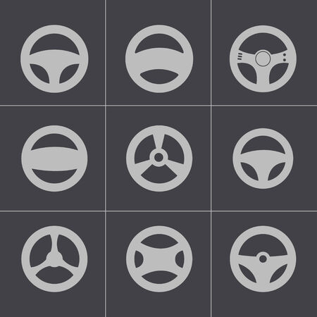 Vector black Steering wheels icons set Vector