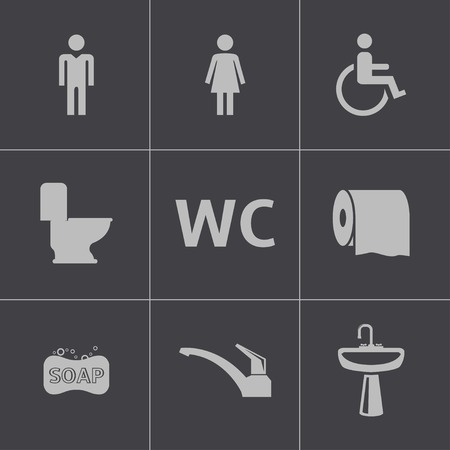 Vector black toilet icons set Vector