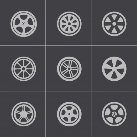 alloy wheel: Vector black wheel disks icons set