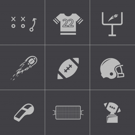Vector black football icons set Vector