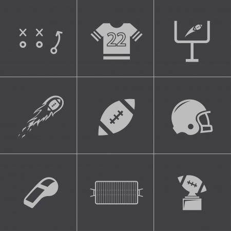 nfl: Vector black football icons set Illustration