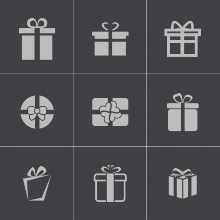 Vector black gift icons set Vector