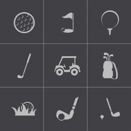 Vector black golf icons set Vector