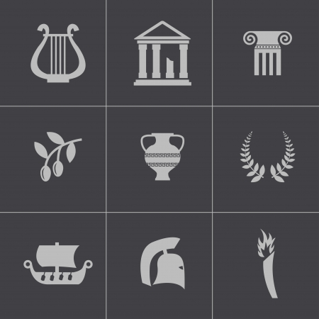 Vector black greece icons set Vector