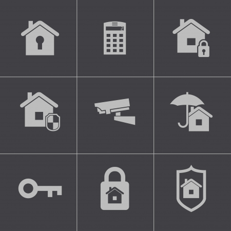 Vector black home security icons set Vector