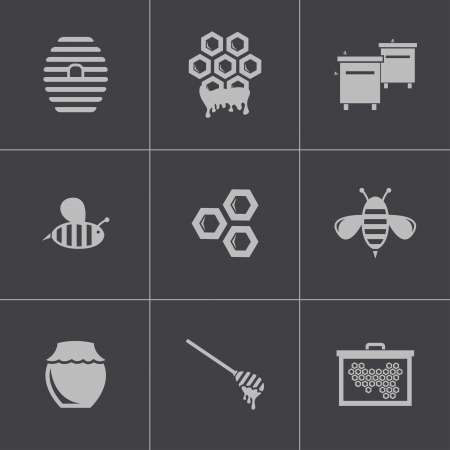 hive: Vector black honey icons set