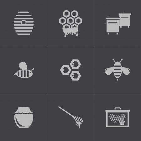 colmena: Vector iconos de miel negro establecen