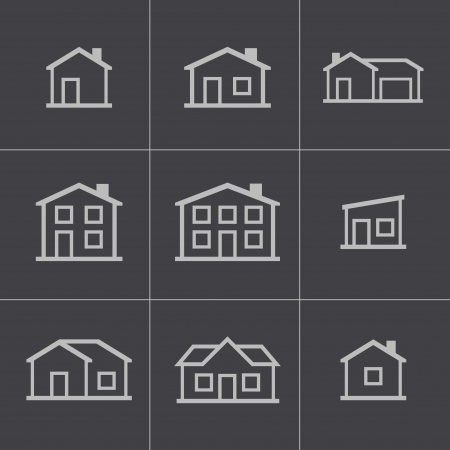 Vector black houses icons set Vector