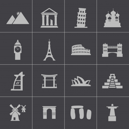 Vector black landmark icons set Vector