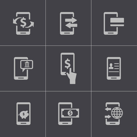 mobile banking: Vector black mobile banking icons set