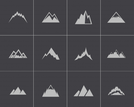 Vector black mountains icons set Vector