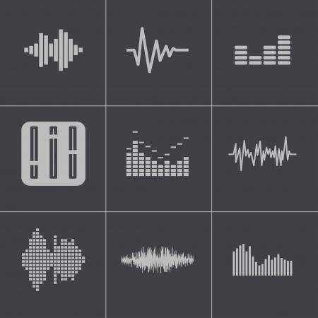 soundwave: Vector black music soundwave icons set Illustration