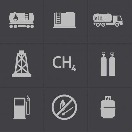 Vector black natural gas icons set Vector
