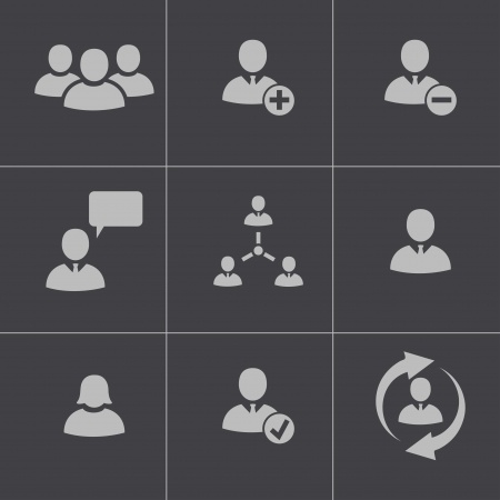 internet profile: Vector black office people icons set