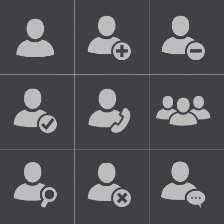 personnes noires: Vecteur de personnes noires ic�nes ensemble sur fond blanc Illustration