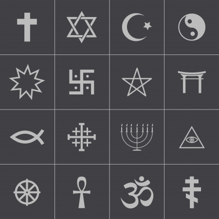 Vector black religious symbols set Vector