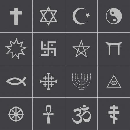 jesus fish: Vector black religious symbols set