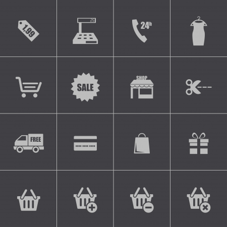 add to basket: Vector black shopping icons set