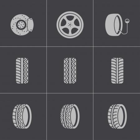 motorsport: Vector black tire icons set