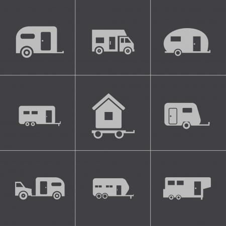 rv: Vector black trailer icons set