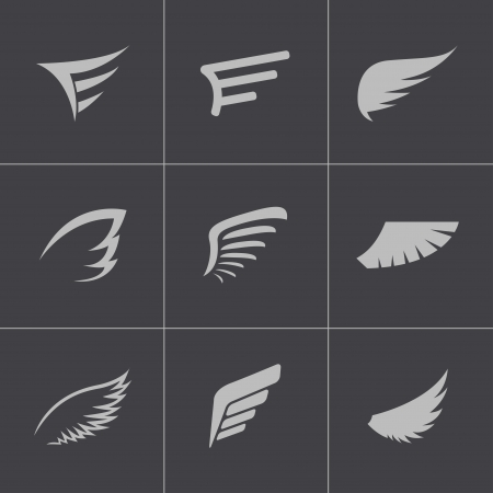eagle wings: Vector black wing icons set