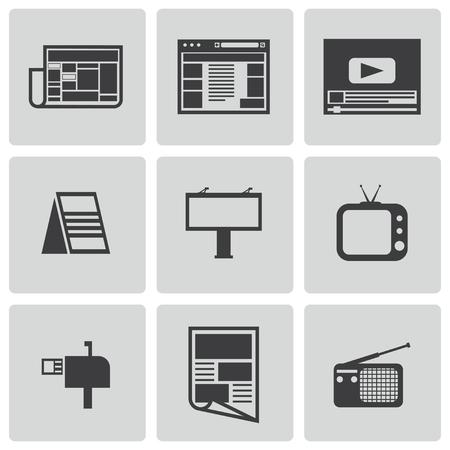 advertiser: Vector nero pubblicit� set di icone su sfondo bianco