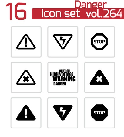 Vector black danger icons set on white background Stock Vector - 24744852